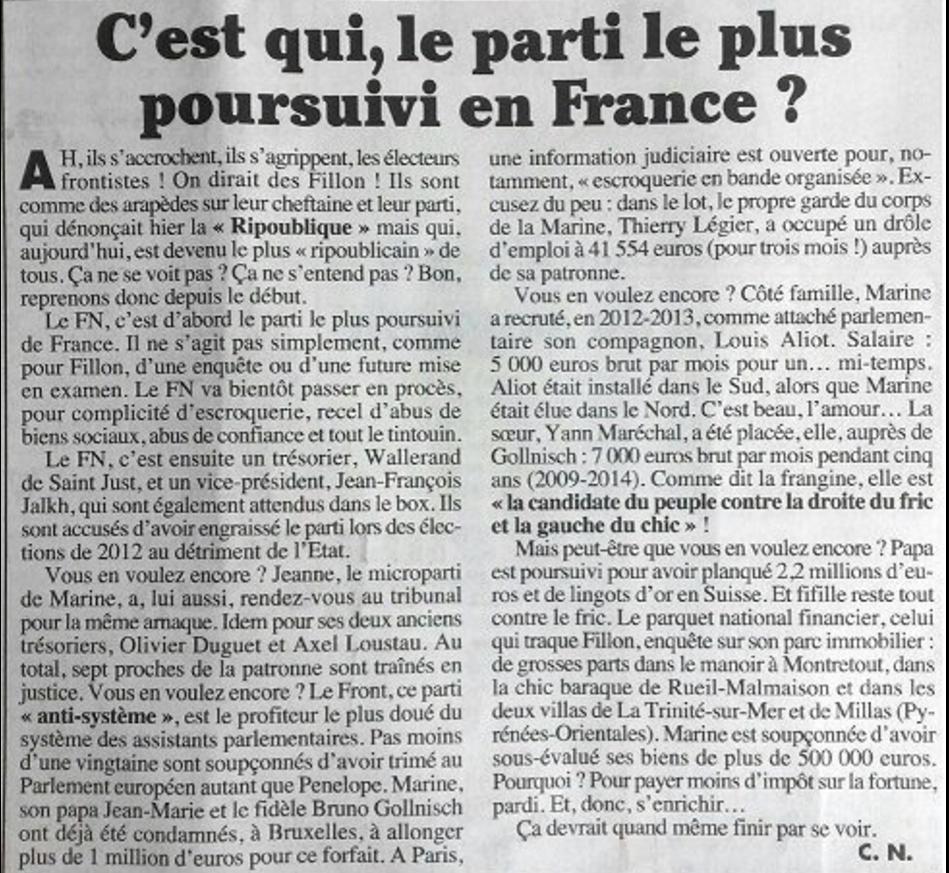 article du Canard enchainé sur les condamnations en justice du FN